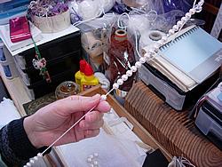 修理例:パールネックレスを念珠とブレスレットにリフォーム