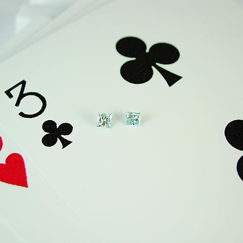 アイスブルーダイヤ 0.17ctペア プリンセスカット ジュエリールース ad198 画像