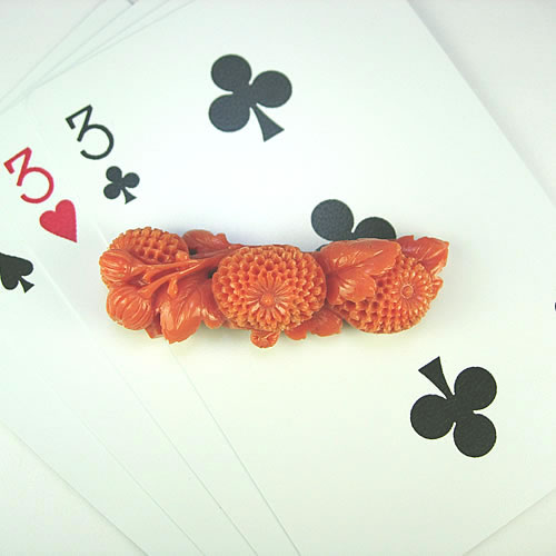 本珊瑚 菊 極上細工彫 10.3g ジュエリールース ad413 画像