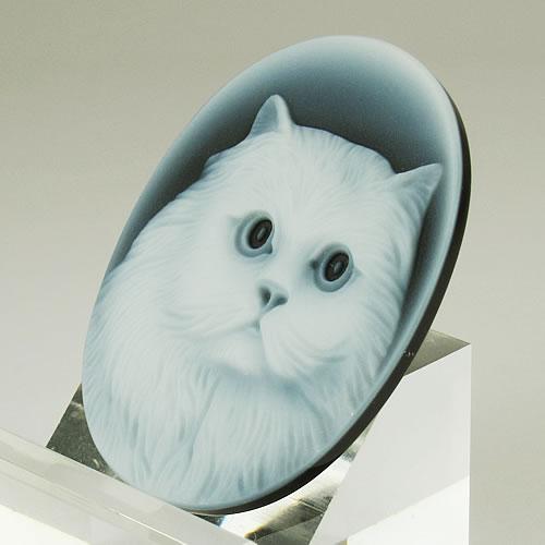 メノーカメオ 猫 35×27mm ジュエリールース bd523 画像