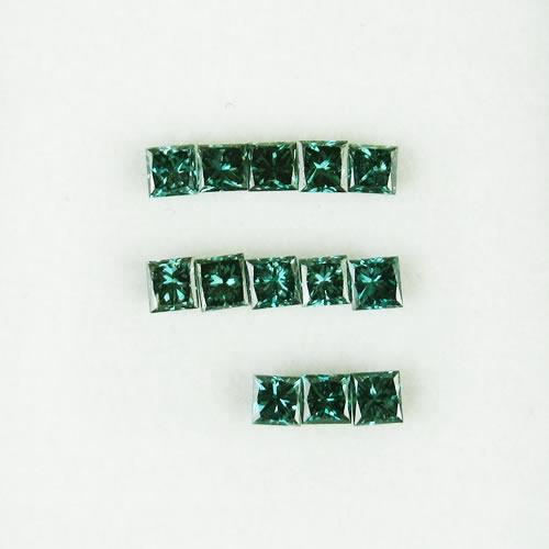 ダイヤ 0.41ct プリンセス 13ps ブルー ジュエリールース bd548
