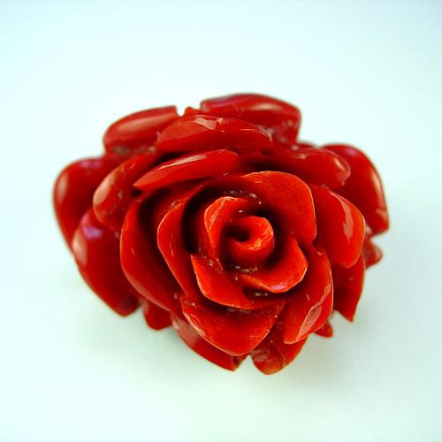 血赤珊瑚 32×29mm 薔薇彫 ジュエリールース de166