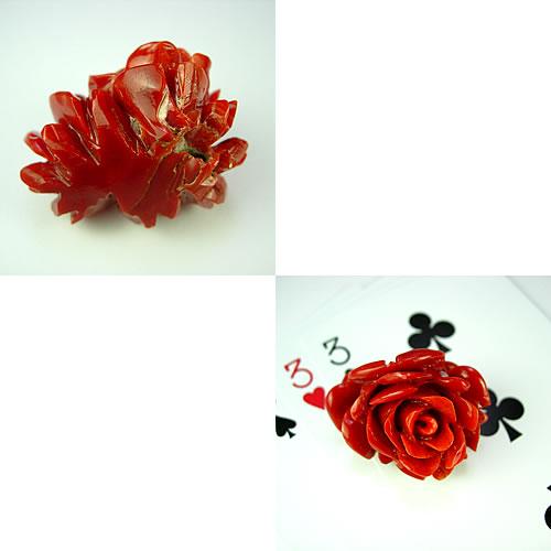 血赤珊瑚 32×29mm 薔薇彫 ジュエリールース de166 画像