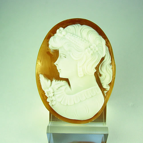 シェルカメオ 手彫り 45×34mm ジュエリールース df571