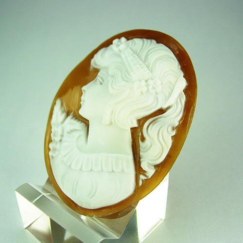 シェルカメオ 手彫り 45×34mm ジュエリールース df571 画像