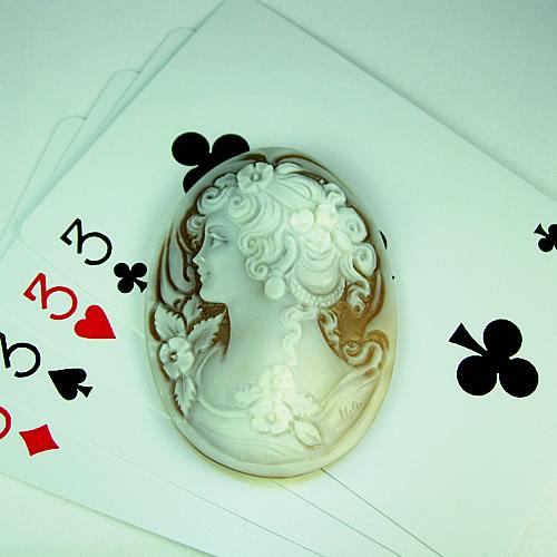 シェルカメオ 手彫り 50×38mm ジュエリールース df572 画像