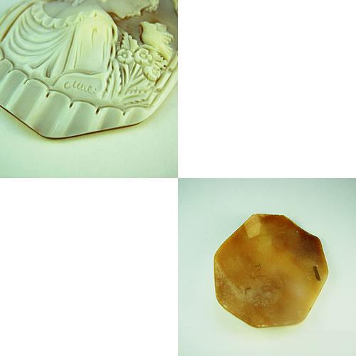 特大 シェルカメオ 手彫り 65×50mm ジュエリールース df573 画像