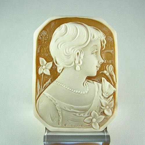 シェルカメオ 手彫り 45×33mm ジュエリールース df816