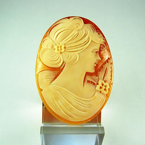 シェルカメオ 手彫り 45×33mm ジュエリールース df819