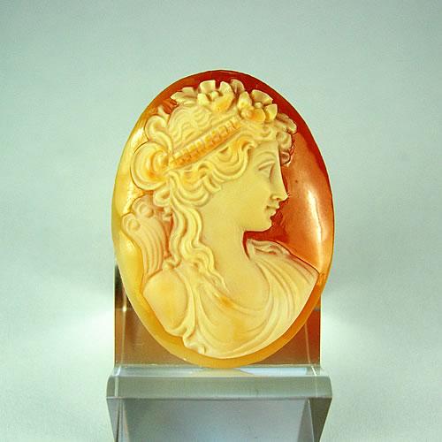 シェルカメオ 手彫り 35×27mm ジュエリールース df820