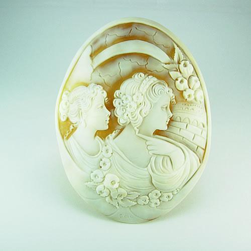 【特価】 特大シェルカメオ 手彫り 95×71mm ジュエリールース df823