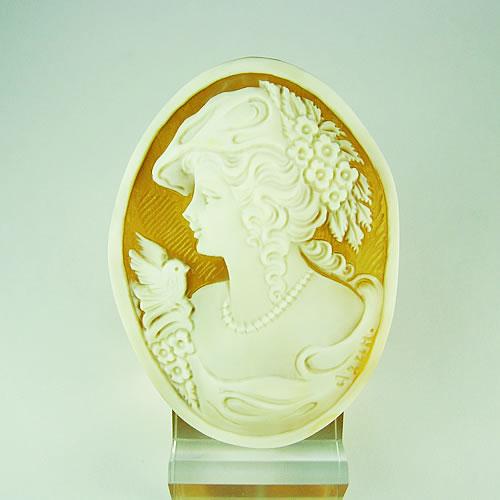 シェルカメオ 手彫り 55×40mm ジュエリールース df940