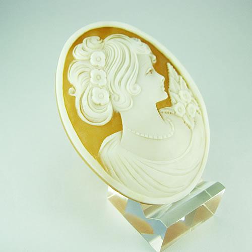 シェルカメオ 手彫り 60×45mm ジュエリールース df944 画像