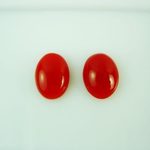 血赤珊瑚 8×6mm 小判ペア ジュエリールース dg142