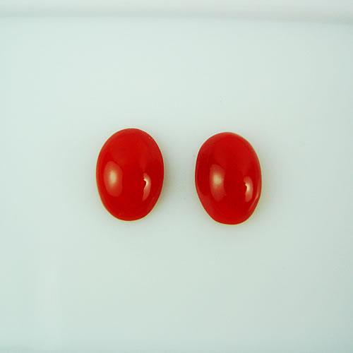 血赤珊瑚 8×5mm 小判ペア ジュエリールース dg143