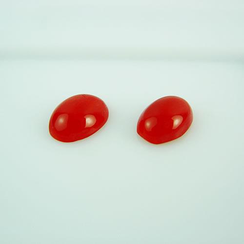 血赤珊瑚 8×5mm 小判ペア ジュエリールース dg143 画像