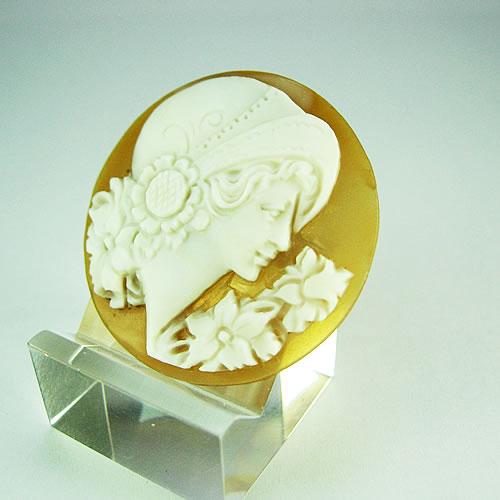 シェルカメオ 手彫り 35×35mm ジュエリールース dg272 画像
