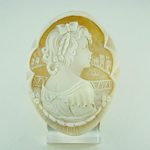 シェルカメオ 手彫り 54×40mm ジュエリールース dg347