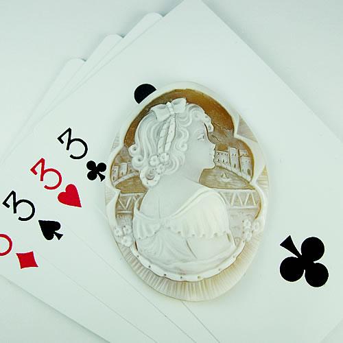 シェルカメオ 手彫り 54×40mm ジュエリールース dg347 画像