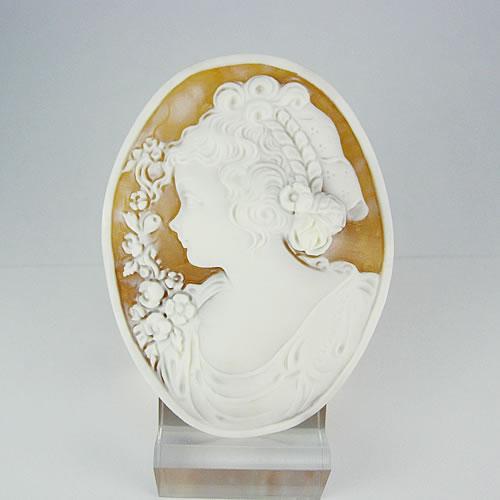 シェルカメオ 手彫り 55×42mm ジュエリールース dg348