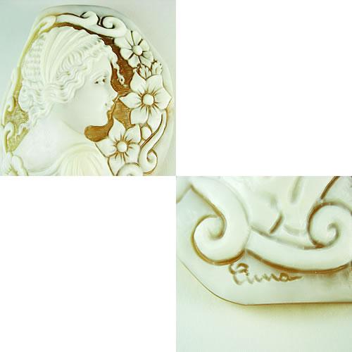 シェルカメオ 手彫り 65×55mm ジュエリールース dg634 画像