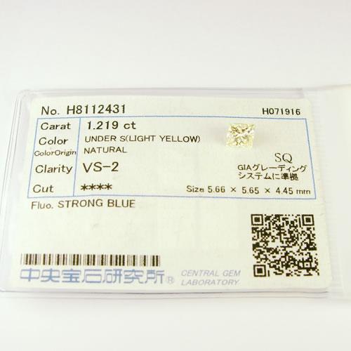 ダイヤ 1.219ct LY.VS-2.プリンセスカット ジュエリールース dz182 画像