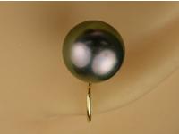 k18 ハープイヤリング 黒パール(7.5mm)ジュエリー