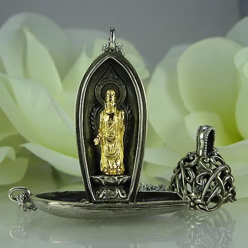 銀製(k24GP・古美) 菩薩 携帯仏壇