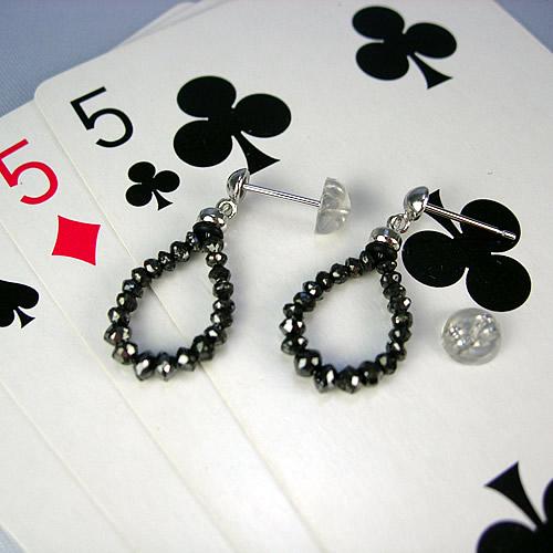 k18wg ブラックダイヤ 3.10ct チャーミーピアス es230 画像
