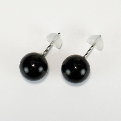 天然ジェット(10mm丸玉)ネック42cm (10mm丸玉)ピアスセット jn0212sp 画像