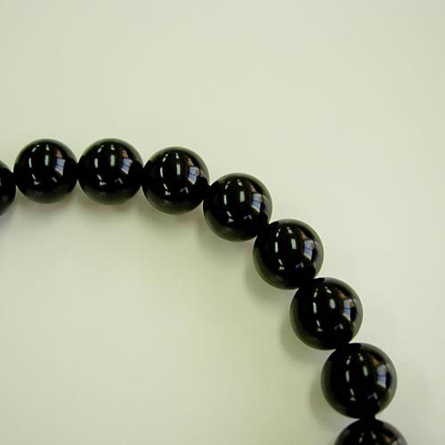 天然ジェット 黒縞メノー仕立正絹房 男性用数珠(念珠) jn0364 画像
