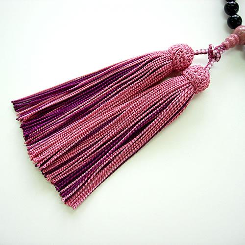 天然ジェット ピーモンタイト仕立正絹房 女性用数珠(念珠) jn4832 画像