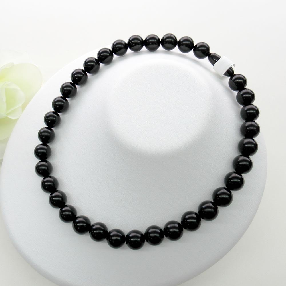 天然ジェット (12mm丸玉) 43cm ネックレス 【NOIR JET ノアールジェット®】 jn5002