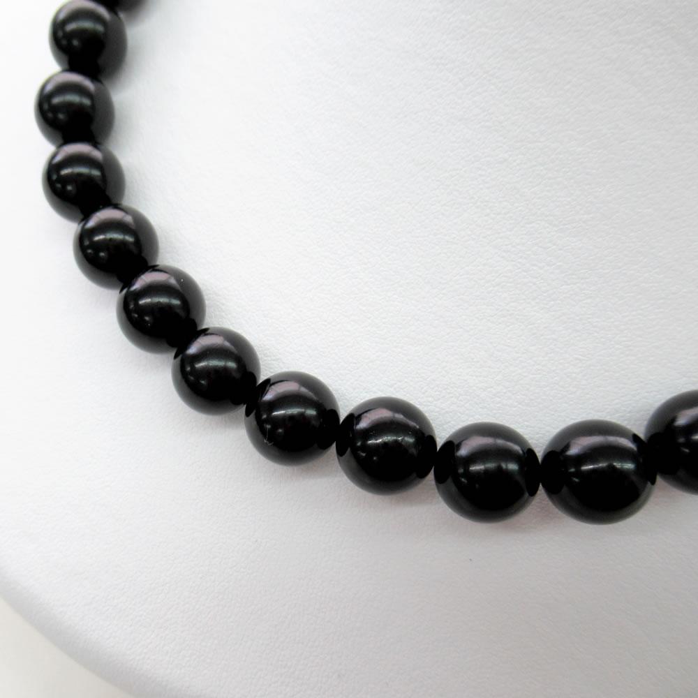 天然ジェット (12mm丸玉) 43cm ネックレス 【NOIR JET ノアールジェット®】 jn5002 画像