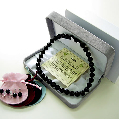 天然ジェット(12mm丸玉)ネック43cm (10mm丸玉)ピアスorイヤリングセット jn5002s 画像