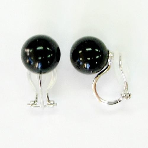 天然ジェット(12mm丸玉)ネック43cm (10mm丸玉)イヤリングセット jn5002se 画像