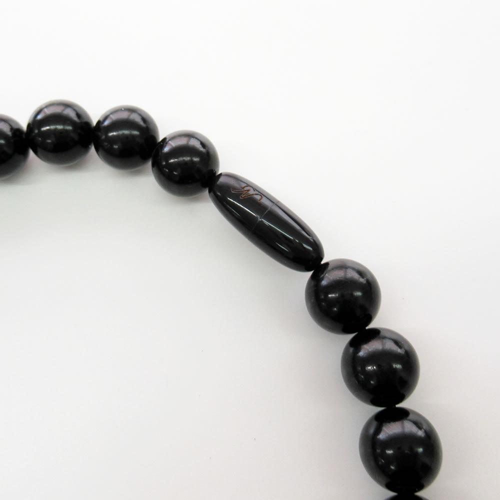 天然ジェット(12mm花彫入、12mm丸玉)43cm ネックレスジュエリー jn5004 画像