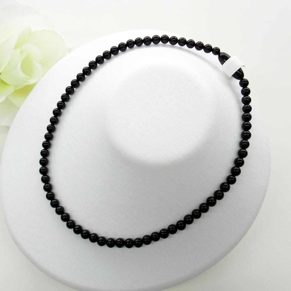 天然ジェット(6mm丸玉)42cm ネックレスジュエリー jn5061