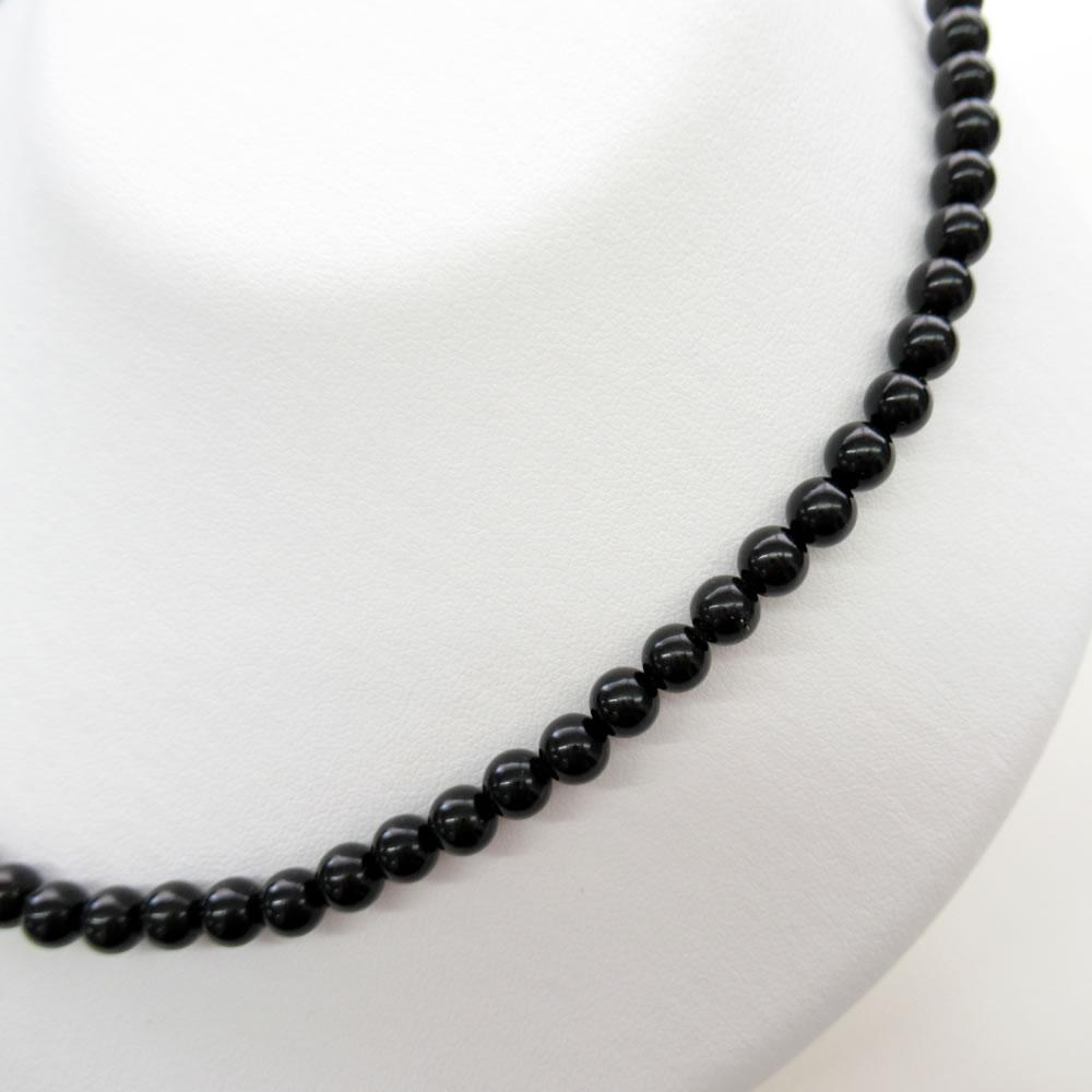 天然ジェット(6mm丸玉)42cm ネックレスジュエリー jn5061 画像