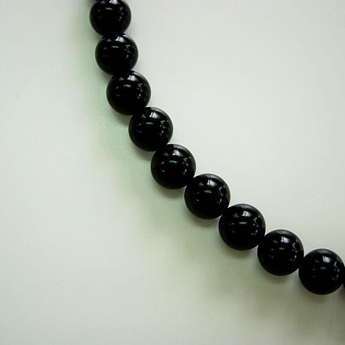 天然ジェット(8mm丸玉)ネック42cm (8mm丸玉)イヤリングセット jn6001se 画像
