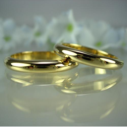 k18 ベーシック無地甲丸(匁)結婚指輪・ペアリング ジュエリー kw01