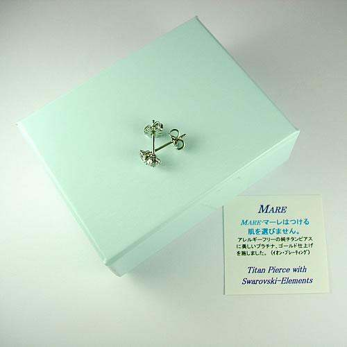 <font color=#ff4500>〔送料無料〕</font>MARE(マーレ)  SWAROVSKI  White 3×3mm  ピアスジュエリー ma076 画像