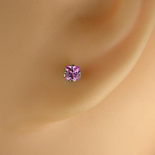 <font color=#ff4500>〔送料無料〕</font>MARE(マーレ) SWAROVSKI  Pink  2.5×2.5mm ピアスジュエリー ma083 画像