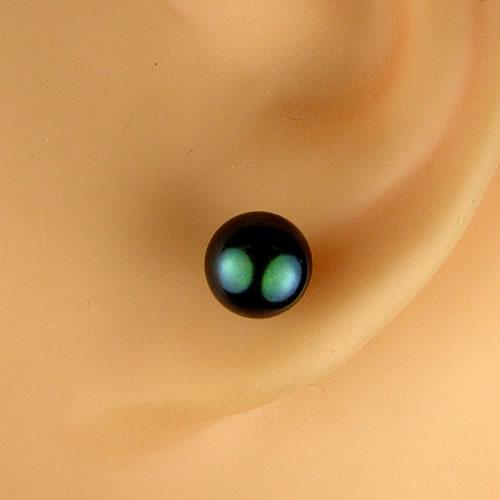 純チタン 国産アコヤパール6.5mm(黒染) ピアスジュエリー mp65b 画像