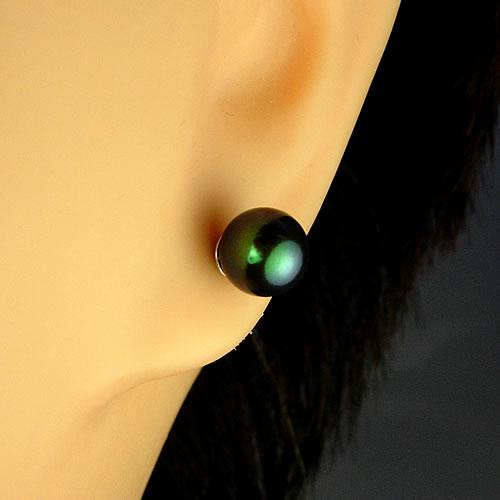 IPチタン 国産アコヤパール6.5mm(黒染) ピアスジュエリー mp65b 画像