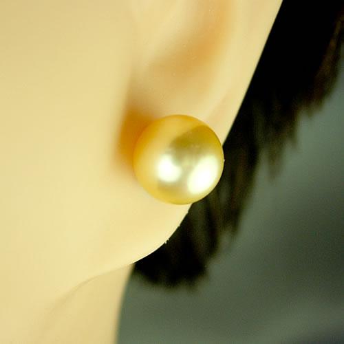 IPチタン 国産アコヤパール 8.5mm(ゴールド染) ピアスジュエリー mp85k 画像