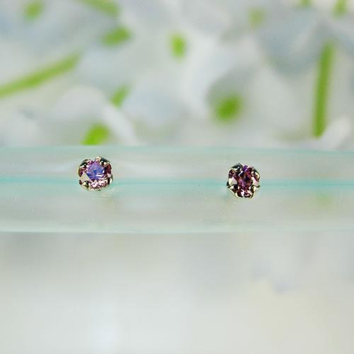 <font color=#ff4500>〔送料無料〕</font>MARE(マーレ) SWAROVSKI  Pink Sapphire 2×2mm  ピアス mt104