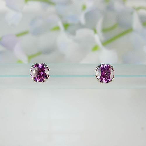 <font color=#ff4500>〔送料無料〕</font> MARE(マーレ) SWAROVSKI Fancy Purple  4×4mm ピアス mt189