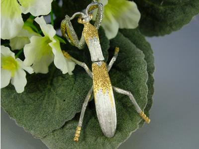 シルバー925 蟷螂(カマキリ)b02 タイタック・ペンダントジュエリー