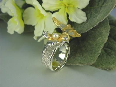 シルバー925 蝶(チョウ)と花 リングジュエリー